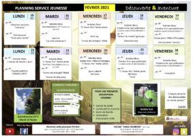 Planning Jeunesse – Vacances de février 2021